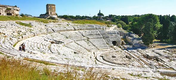 Théâtre grec de Syracuse, creusé à même la roche