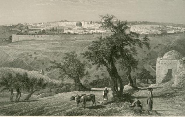 «Le mont des Oliviers, qui est près de Jérusalem, à la distance d'un chemin de sabbat » (Ac 1,12),  selon une gravure datée de 1881