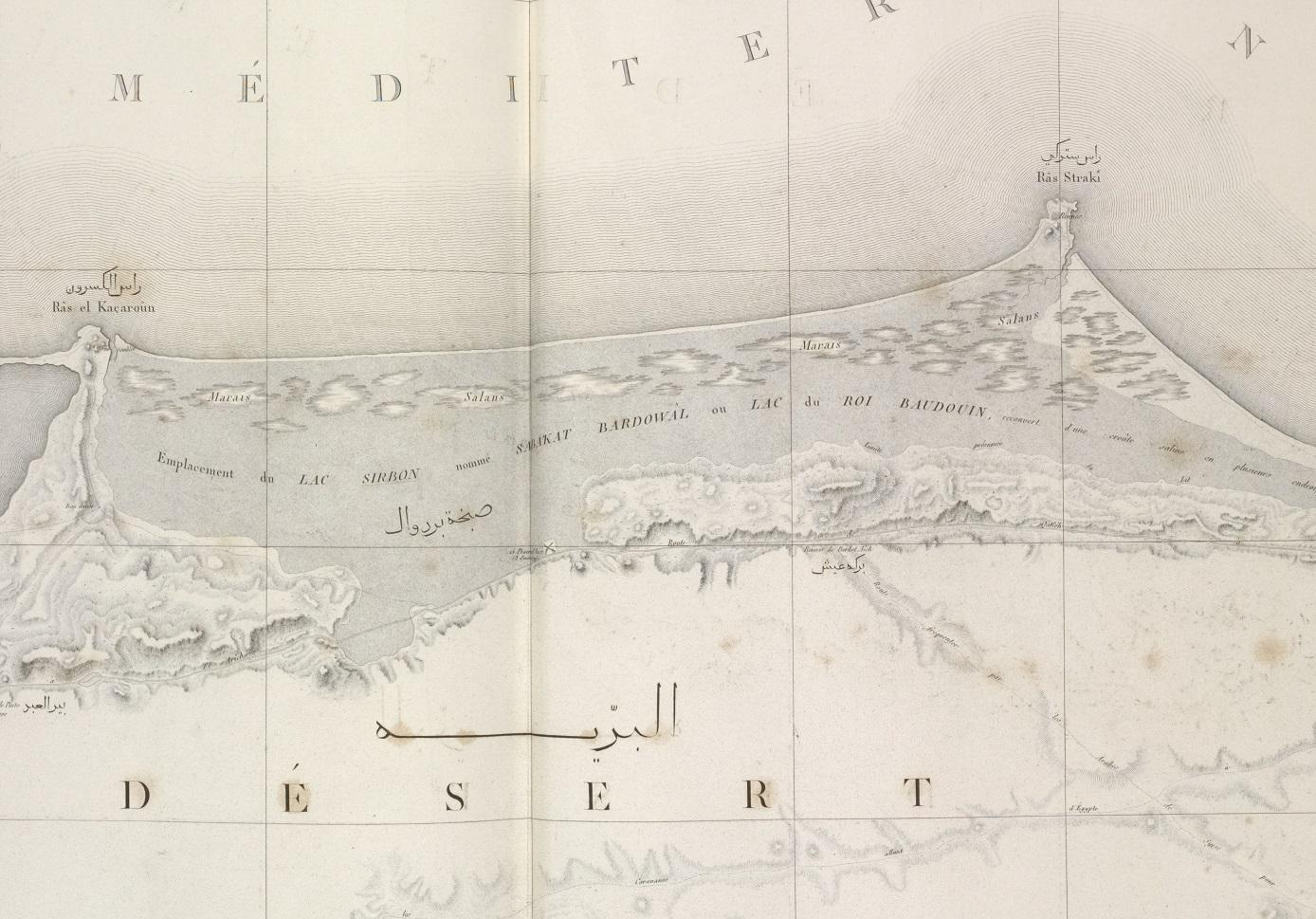 Le lac Sirbon sur une carte ancienne