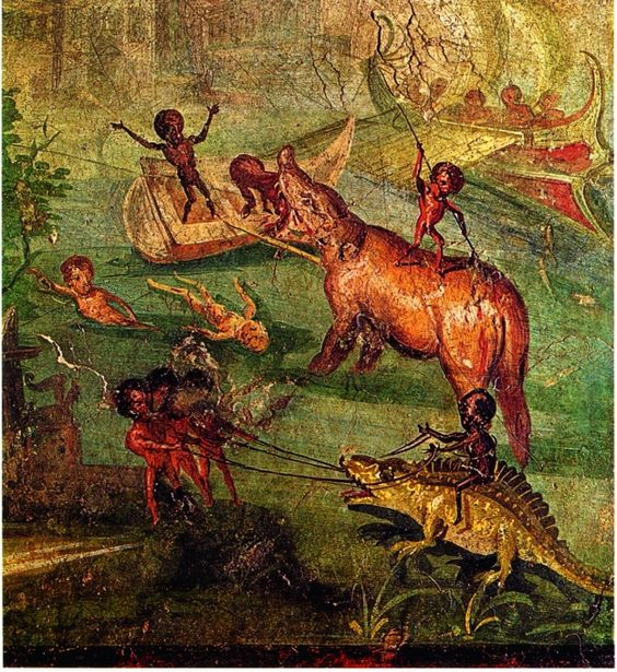 Combat entre Pygmées, hippopotames et crocodiles. (Pompéi, Maison du Médecin)