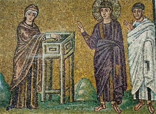 L'offrande de la veuve (mosaïque ancienne)